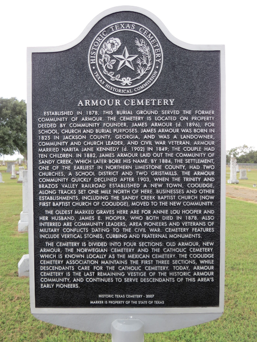 Limestone County Historical Commission - Armour Cemetery